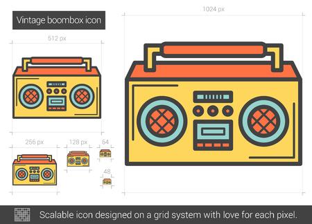 Vintage boombox line icon. Vector illustration.