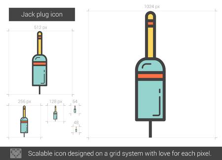Jack plug line icon. Vector illustration.