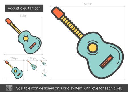 Acoustic guitar line icon.