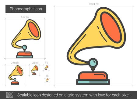 Phonographe line icon. Illustration
