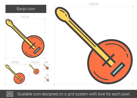 fret: Banjo line icon. Illustration