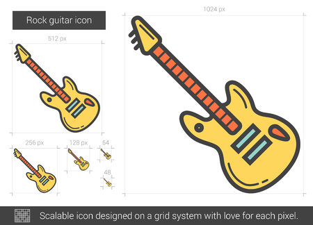 Rock guitar line icon.