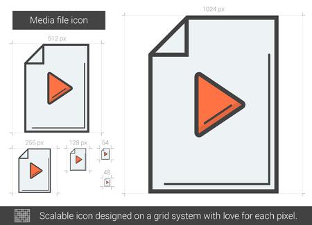 scalable: Media file line icon.