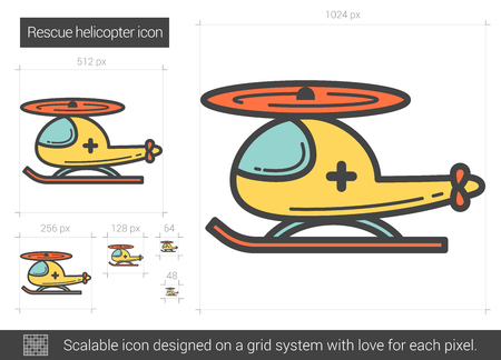 Rescue helicopter line icon.