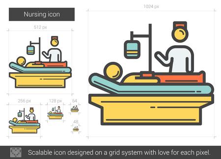 lying in bed: Nursing line icon. Illustration