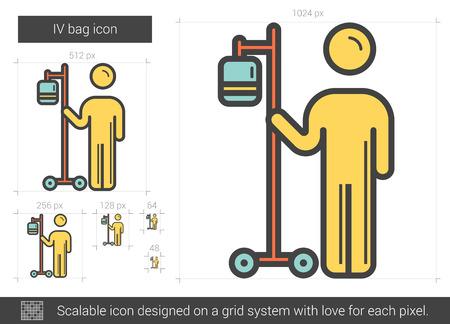 IV bag line icon.