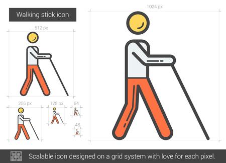 Walking stick line icon. Illustration