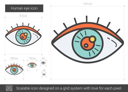 shortsighted: Human eye line icon.