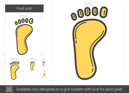 Foot line icon.