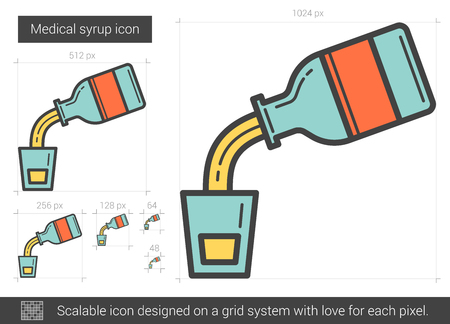 Medical syrup line icon.