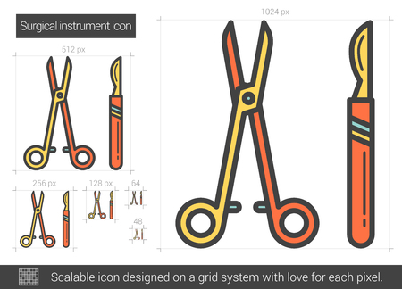 surgical equipment: Surgical instruments line icon. Illustration