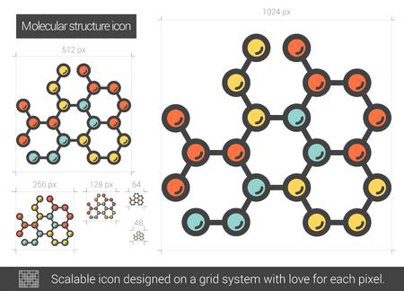 Ikona linii struktury molekularnej. Ilustracje wektorowe