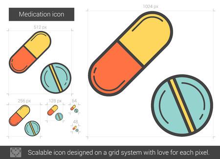 dosage: Medication line icon.