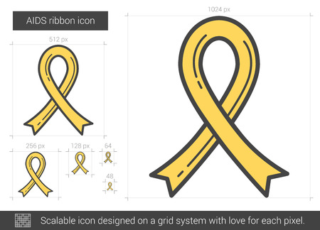 aids awareness ribbon: AIDS ribbon line icon.