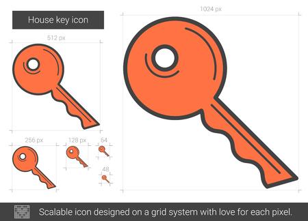unlocking: House key line icon.