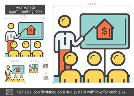 Real estate agent meeting line icon. Vector illustration. Illustration