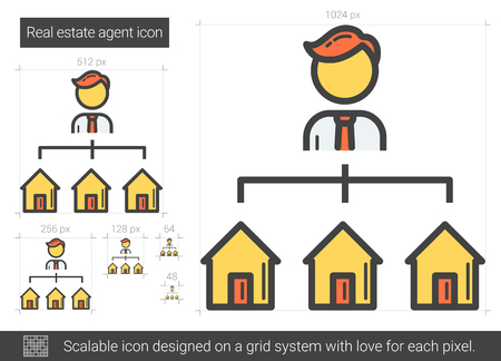 renter: Real estate agent line icon. Illustration