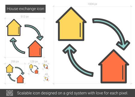 House exchange line icon. Stock fotó - 80945289