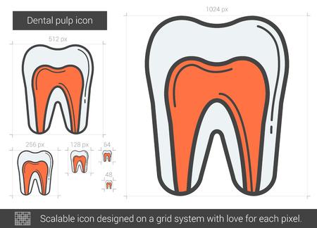 Dental pulp line icon. Illustration