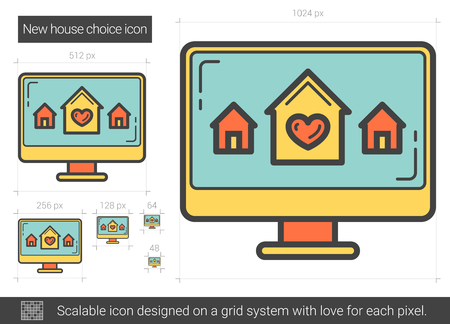 New house choice line icon.  イラスト・ベクター素材
