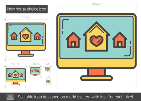 New house choice line icon. Stock Illustratie