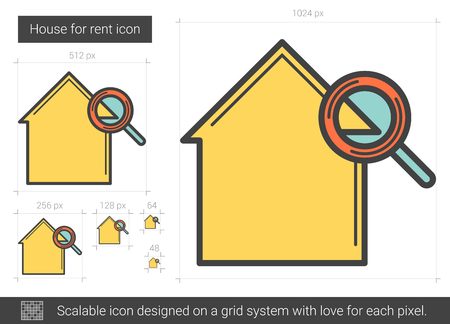 for rental: House for rent line icon. Illustration
