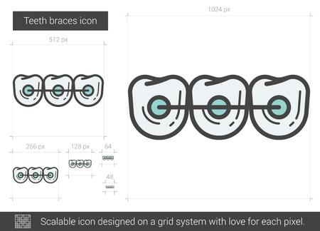 Teeth braces line icon. Stock Vector - 80945338