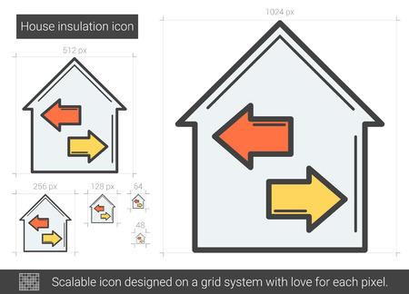 House insulation line icon. Illustration