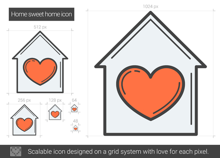 favourite: Home sweet home line icon.