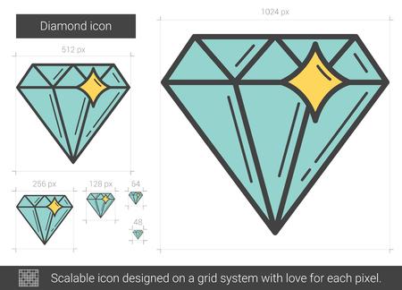 Diamond line icon. Illustration