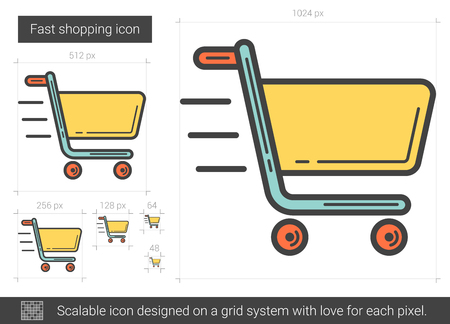 Fast shopping line icon.