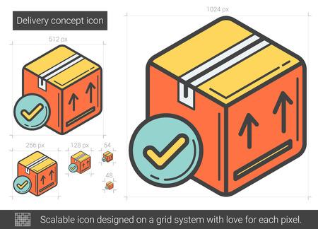 Icono de línea de concepto de entrega. Foto de archivo - 80945399