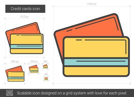 Credit cards line icon. Çizim