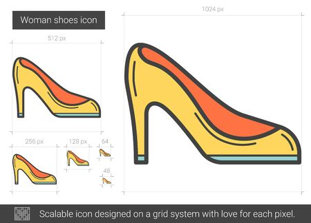 Woman shoes line icon.