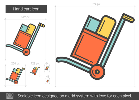 Hand cart line icon.