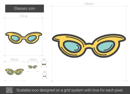eyewear fashion: Glasses line icon. Illustration