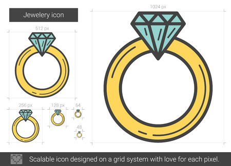 Jewelry engagement ring line icon.