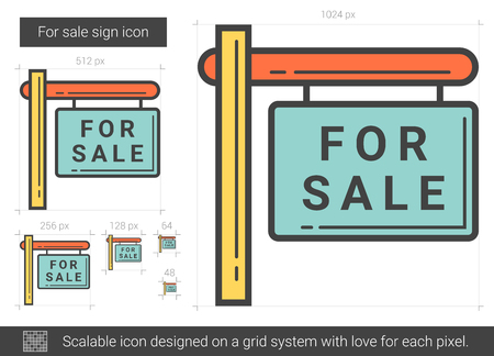 announce: For sale sign line icon. Illustration