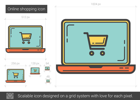 electronic commerce: Online shopping line icon.