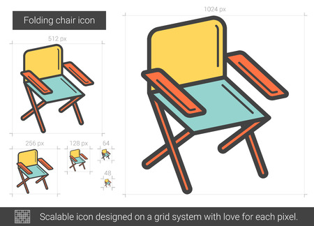 Folding chair line icon.