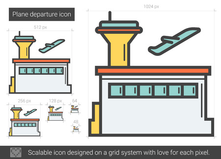 Plane departure line icon.