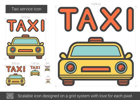 Taxi service line icon.