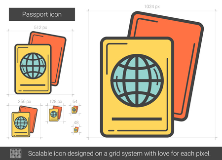 Passport line icon.