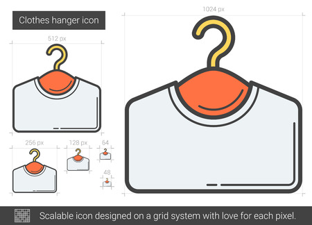hangers: Clothes hanger line icon.