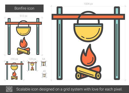 prepare: Bonfire line icon.