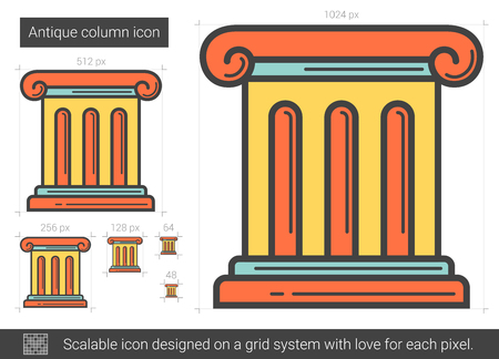 Antique column line icon.