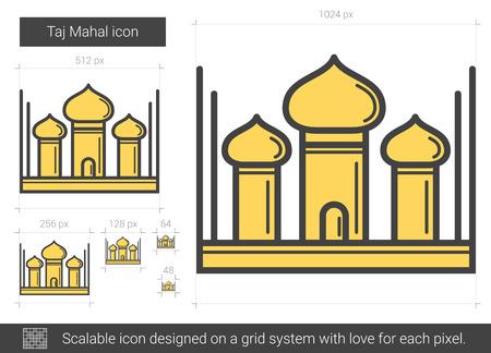 Taj Mahal line icon. Illusztráció