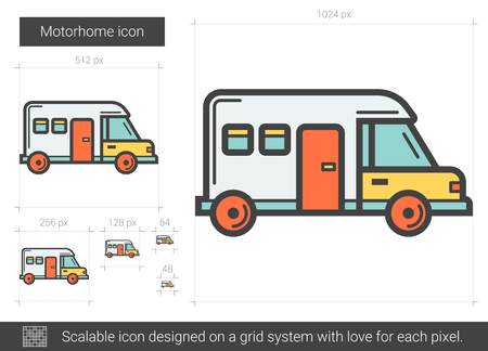 motorhome: Motorhome line icon. Illustration