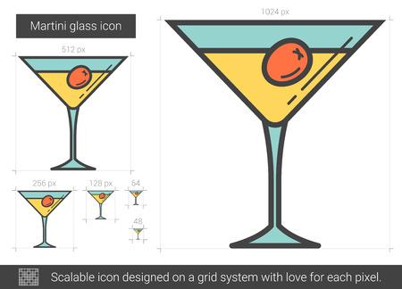 gin: Martini glass line icon. Illustration
