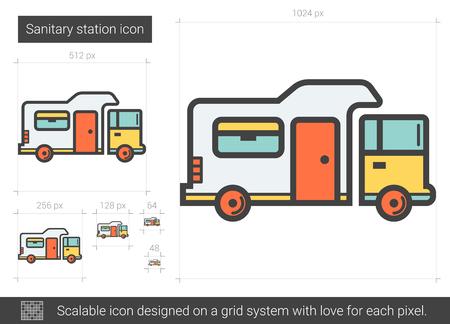 Sanitary station line icon. Ilustrace